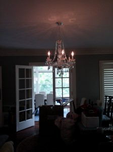 Antique Crystal chandelier on a dimable switch