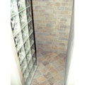 Walk-in shower with Italian tile